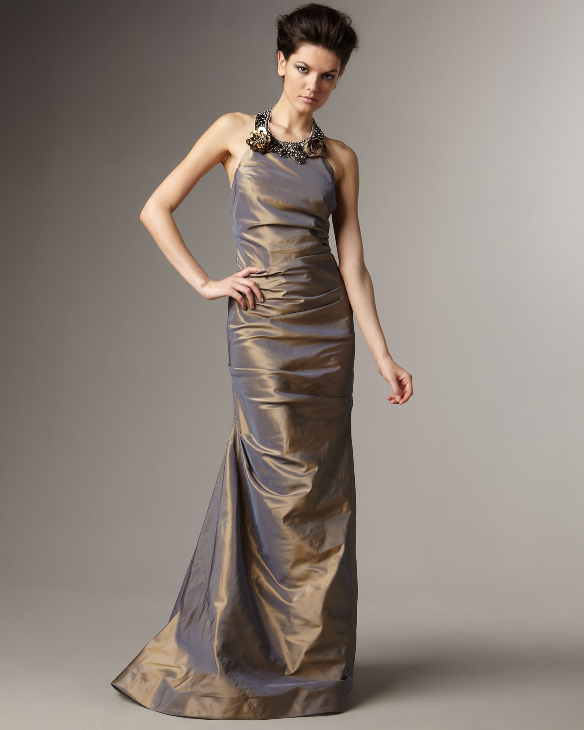 Teri Jon Embellished Halter Neck Taffeta Gown In Metallic
