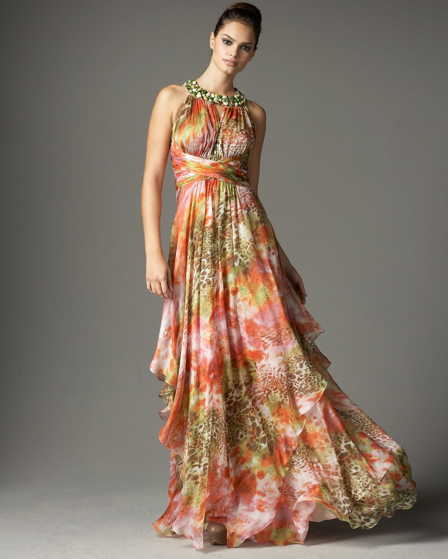 Lyst - Teri Jon Beaded-neck Printed Silk Gown in Orange