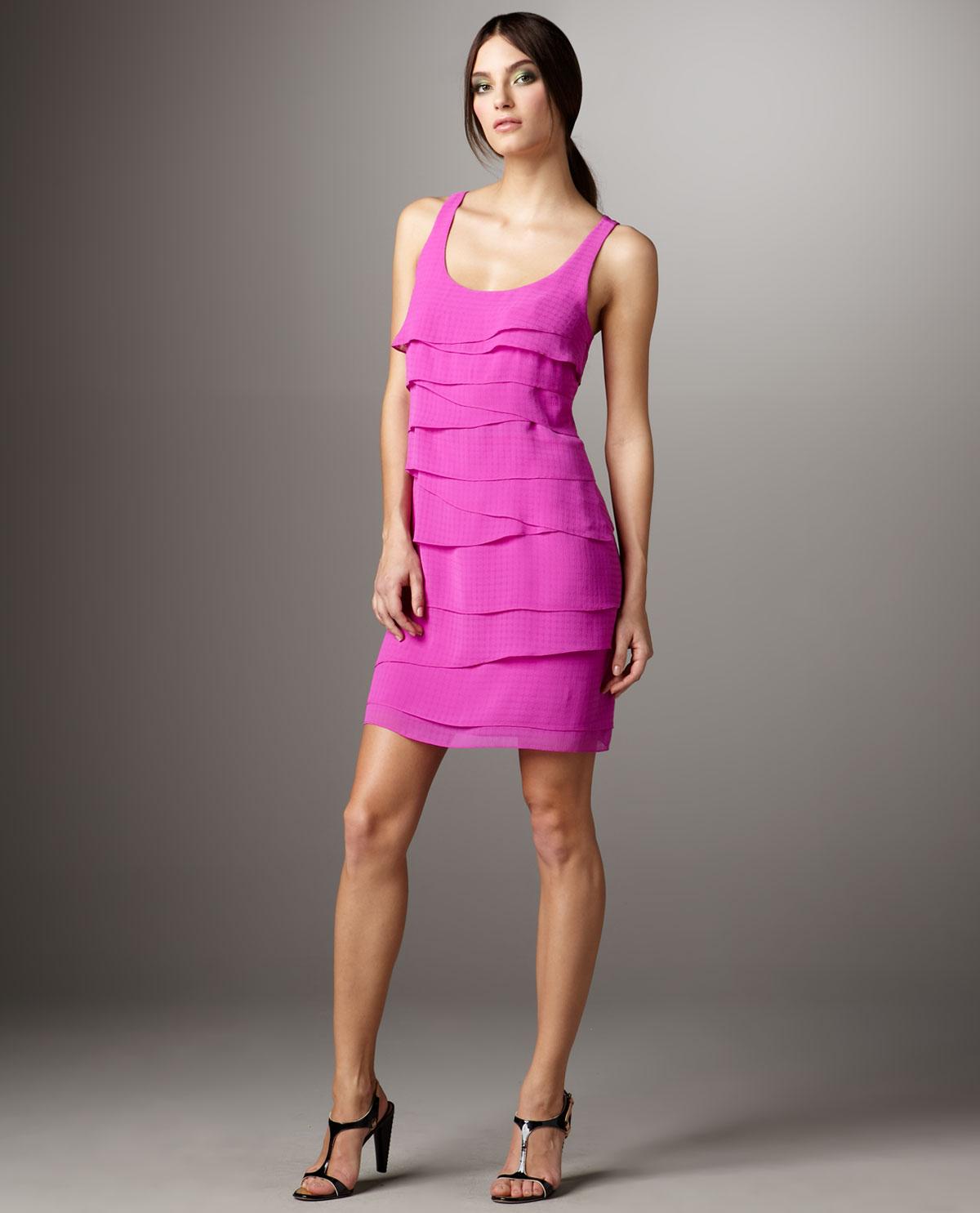 Shoshanna Sleeveless Tiered Dress in Pink - Lyst
