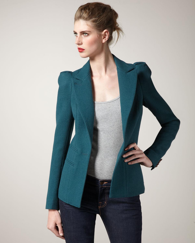 Smythe puff sleeve blazer in green lyst for Smythe inc