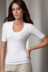 Splendid V-neck Tee, White - Lyst