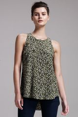 Theory Leaf-print Silk Top - Lyst