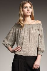 Theory Printed Off-the-shoulder Top, Nude - Lyst