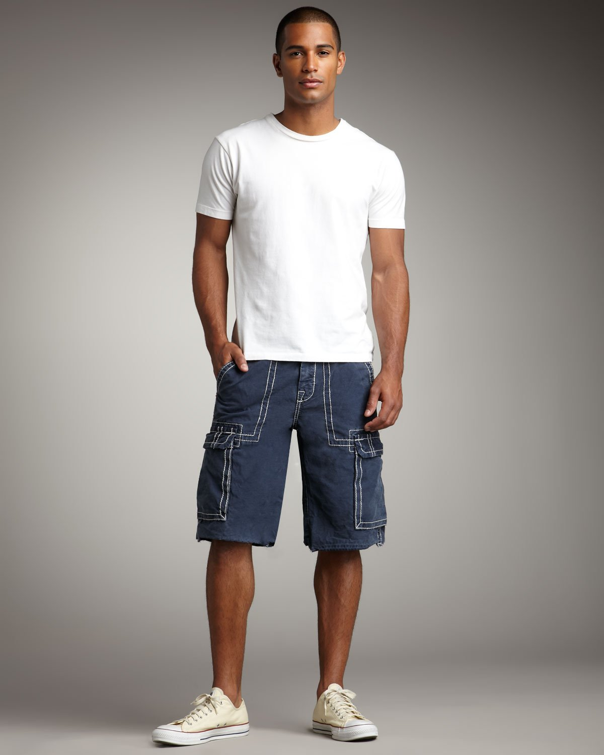 Lyst - True Religion Isaac Cargo Shorts in Blue for Men