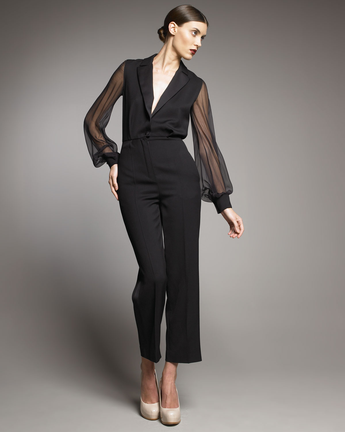 Saint laurent Sheer-sleeve Tuxedo Jumpsuit in Black | Lyst