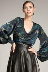 Yves Saint Laurent Printed Satin Blouse - Lyst