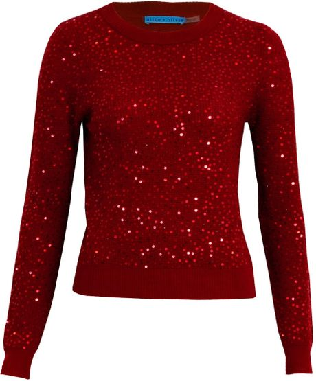 Red Sequin Sweater 103