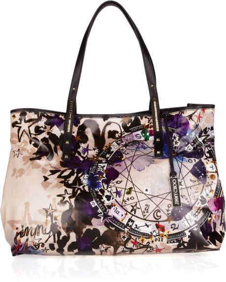 Jimmy Choo Scarlet Printed Glazed-canvas Tote in Multicolor (scarlet) - Lyst
