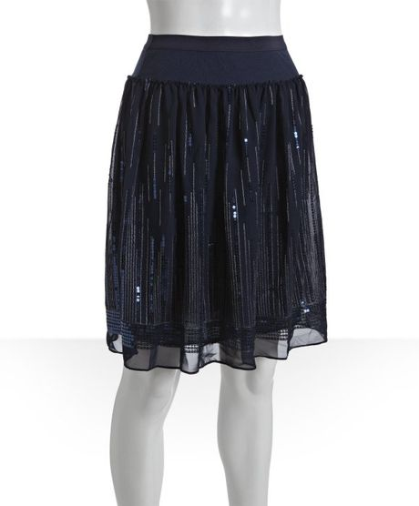 eryn brinie navy chiffon gathered sequined knee length
