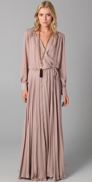 Parker Wrap Dress With Pleated Skirt In Pink Blush Lyst