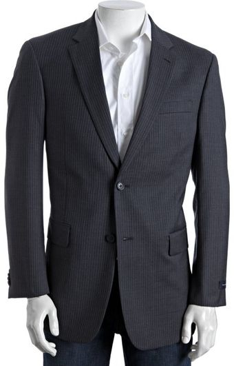 Tommy Hilfiger Charcoal Pinstripe Wool Trim Fit 2-button Blazer - Lyst