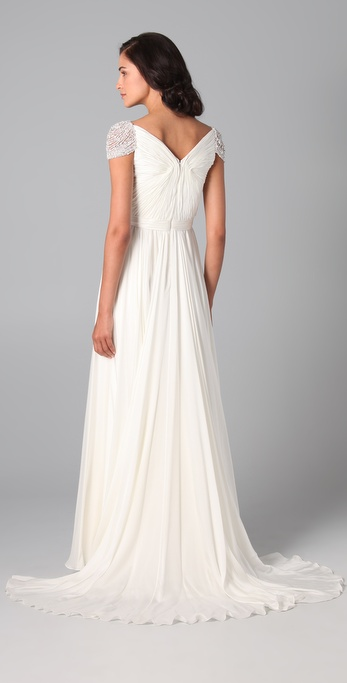 7cd0e42d6831 Lyst - Reem Acra Twist Front Gown with Jeweled Sleeves in White