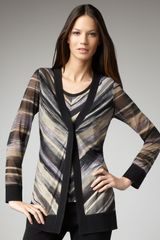 Misook Collection Striped Cardigan - Lyst