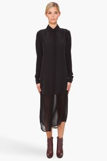 T By Alexander Wang Half-sheer Shirt Dress - Lyst