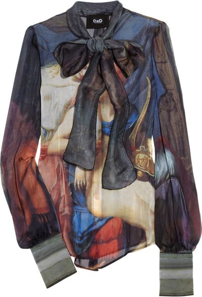 D&g Printed Silkchiffon Blouse in Multicolor (blue) - Lyst