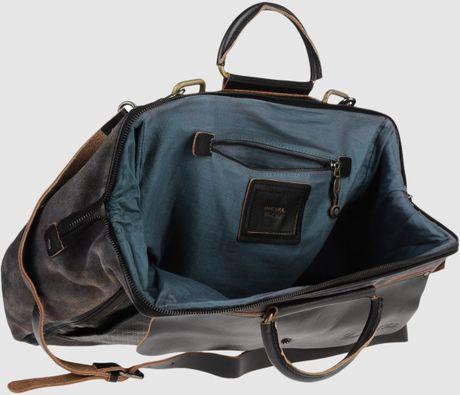 Diesel Black Gold Large Leather Bag In Black For Men Lyst