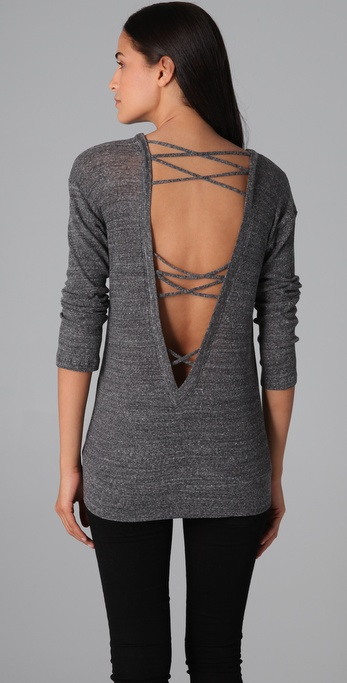 Lyst Nightcap Open Back Sweater In Gray