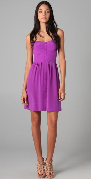 Rebecca Taylor Perfect Fit Strapless Dress In Purple