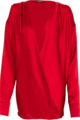 Balmain Faux Wrap Long Sleeve Blouse - Lyst