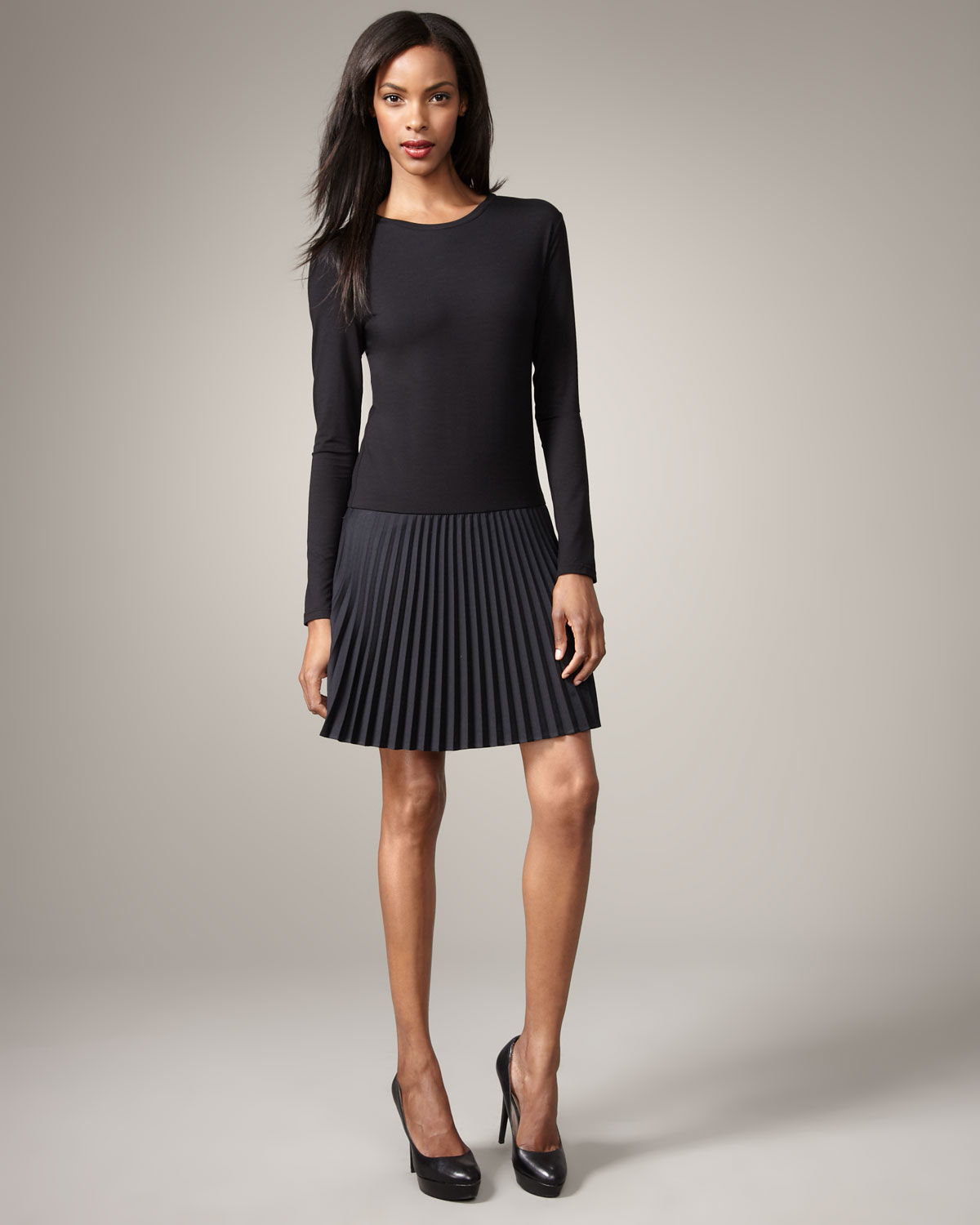 Dkny Pleated-skirt Dress in Black | Lyst