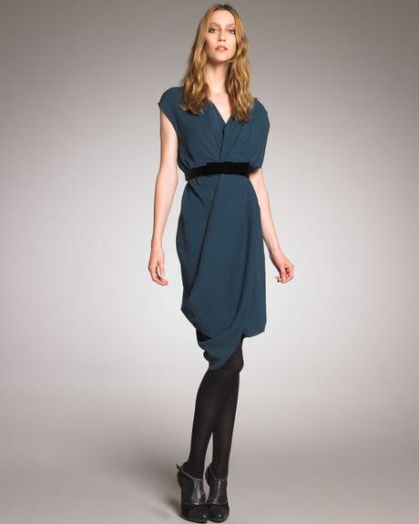 Asymmetric Drape Dress: Lanvin Asymmetric Draped Dress In Blue