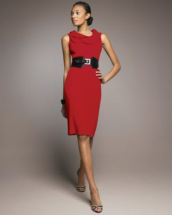 Oscar de la Renta Tulip-neck Sheath Dress - Lyst