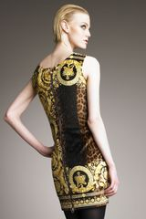 Versace Mixedprint Velvet Dress in Yellow (black) - Lyst