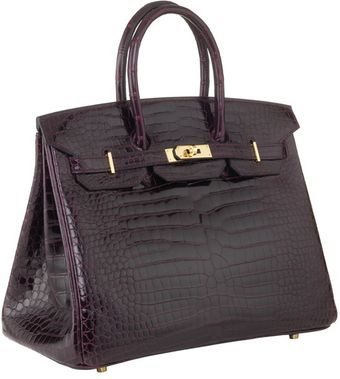 Hermes 35cm Birkin Prune Crocodile With Ghw - Lyst