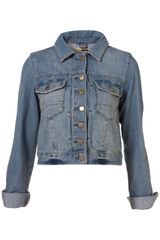 Moto Bleach Wash Western Style Denim Jacket - Lyst