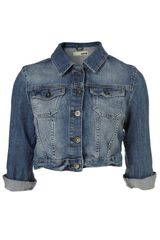 Moto Indigo Denim 3 4 Sleeve Crop Jacket - Lyst