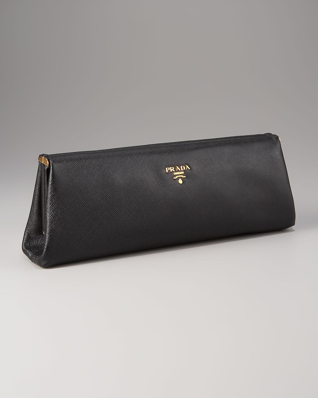 Saffiano Lux clutch - Black Prada 9Vw4YLmwG