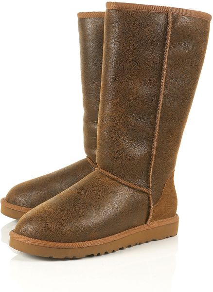 Ugg Chestnut Leather Tall Bomber Boots By In Brown