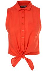 Topshop Red Sleeveless Tie Front Shirt