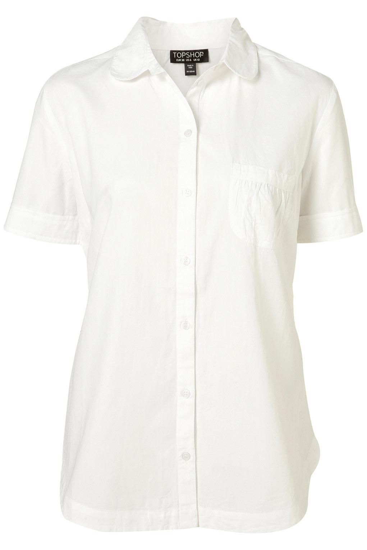 Topshop white peter pan collar short sleeve shirt in white for White cotton shirt peter pan collar
