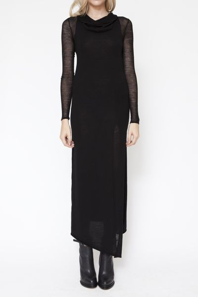 Helmut Lang Cowl Neck Long Sleeve Dress in Black - Lyst