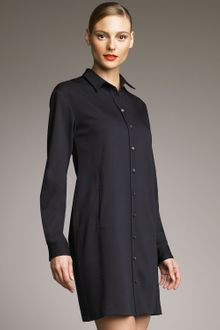 Jil Sander Navy Pleated-back Shirtdress - Lyst