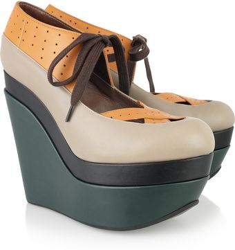 Marni Color-block Leather Wedges - Lyst