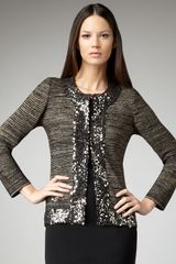 Misook Collection Sequin-trim Lurex Jacket - Lyst