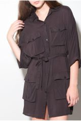 Cheap Monday Militaria Woven Pocket Shirt in Brown (charcoal) - Lyst