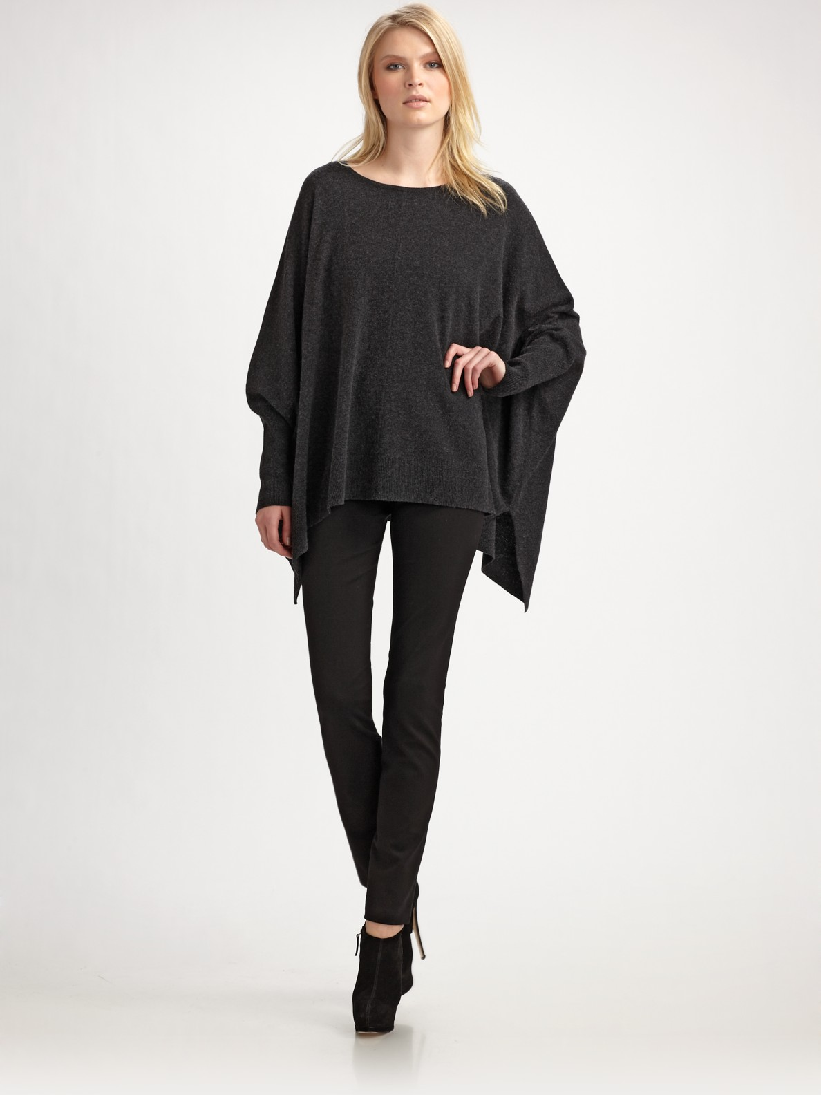 Dkny modern luxe poncho in gray charcoal lyst