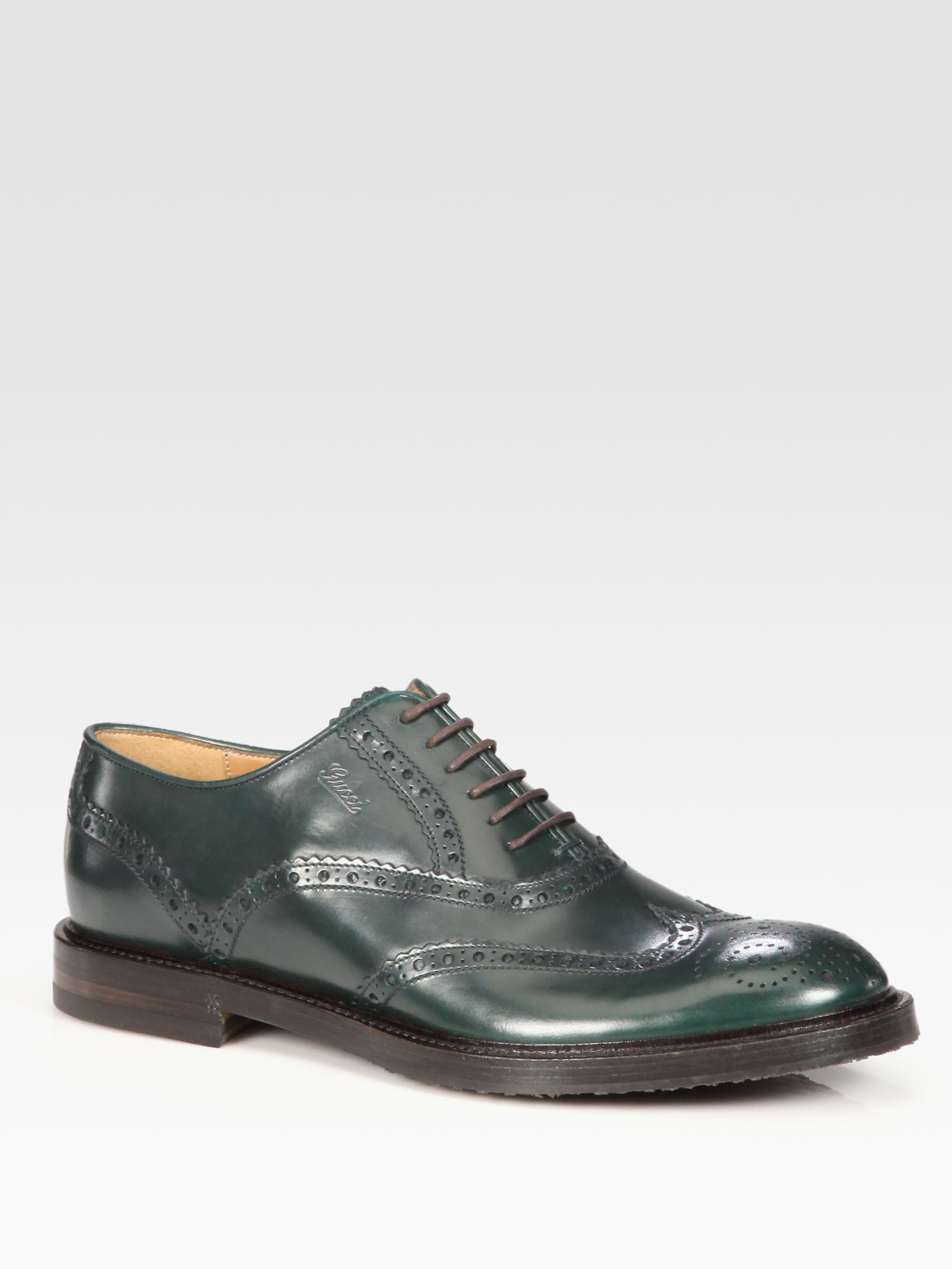 gucci wingtip dress shoe in green for lyst