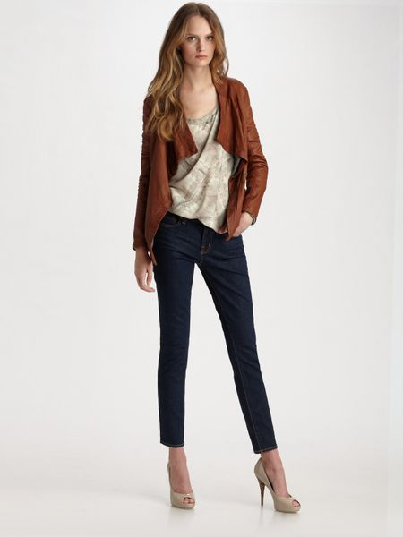 Haute Hippie Draped Leather Jacket In Brown Cognac Lyst