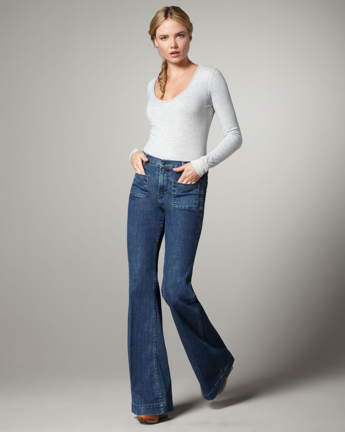 J Brand Bette Mystery High Rise Flared Jeans In Blue Lyst