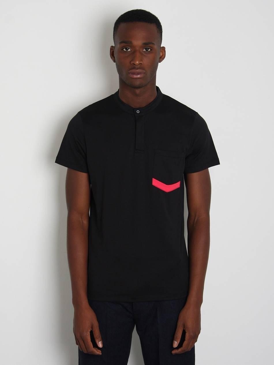 Jil sander mens contrast pocket henley t shirt in black for Jil sander mens shirt