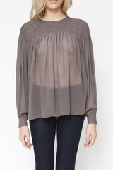 L'Agence Long Sleeve Diamond Blouse - Lyst