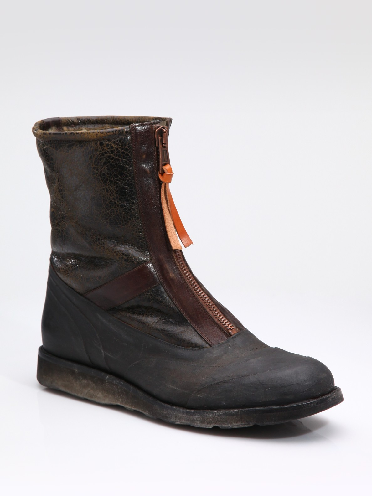 maison margiela zip up ankle boots in brown for lyst