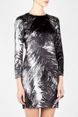 McQ by Alexander McQueen Ostrich Feather Print Silk Shift Dress