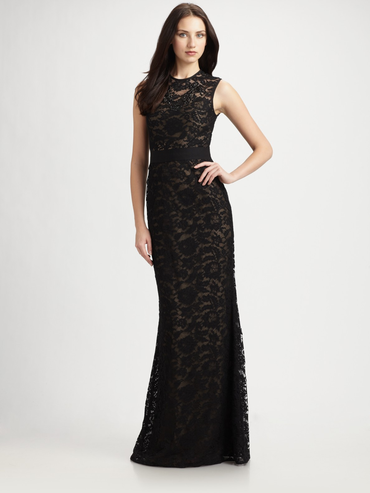 Lyst - Ml Monique Lhuillier Lace Gown in Black