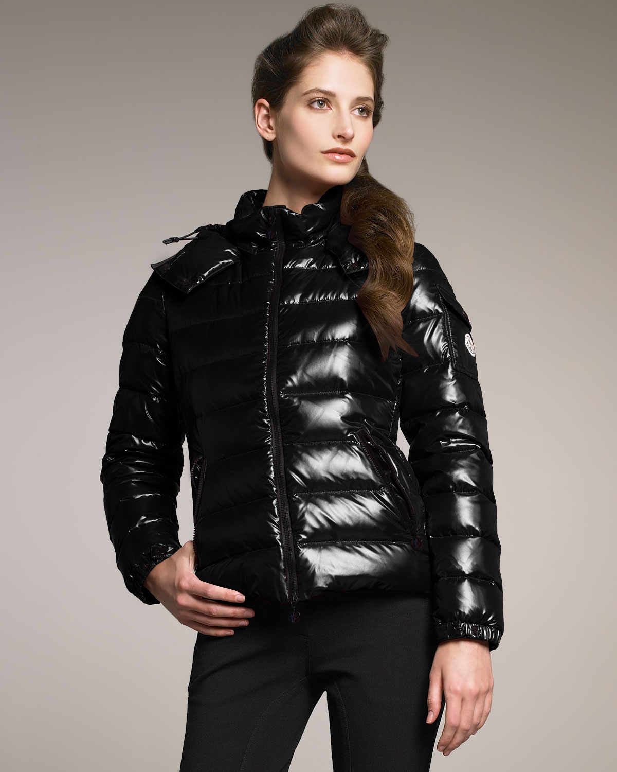 8170074fbb08 Lyst - Moncler Laque Hooded Puffer Jacket in Black