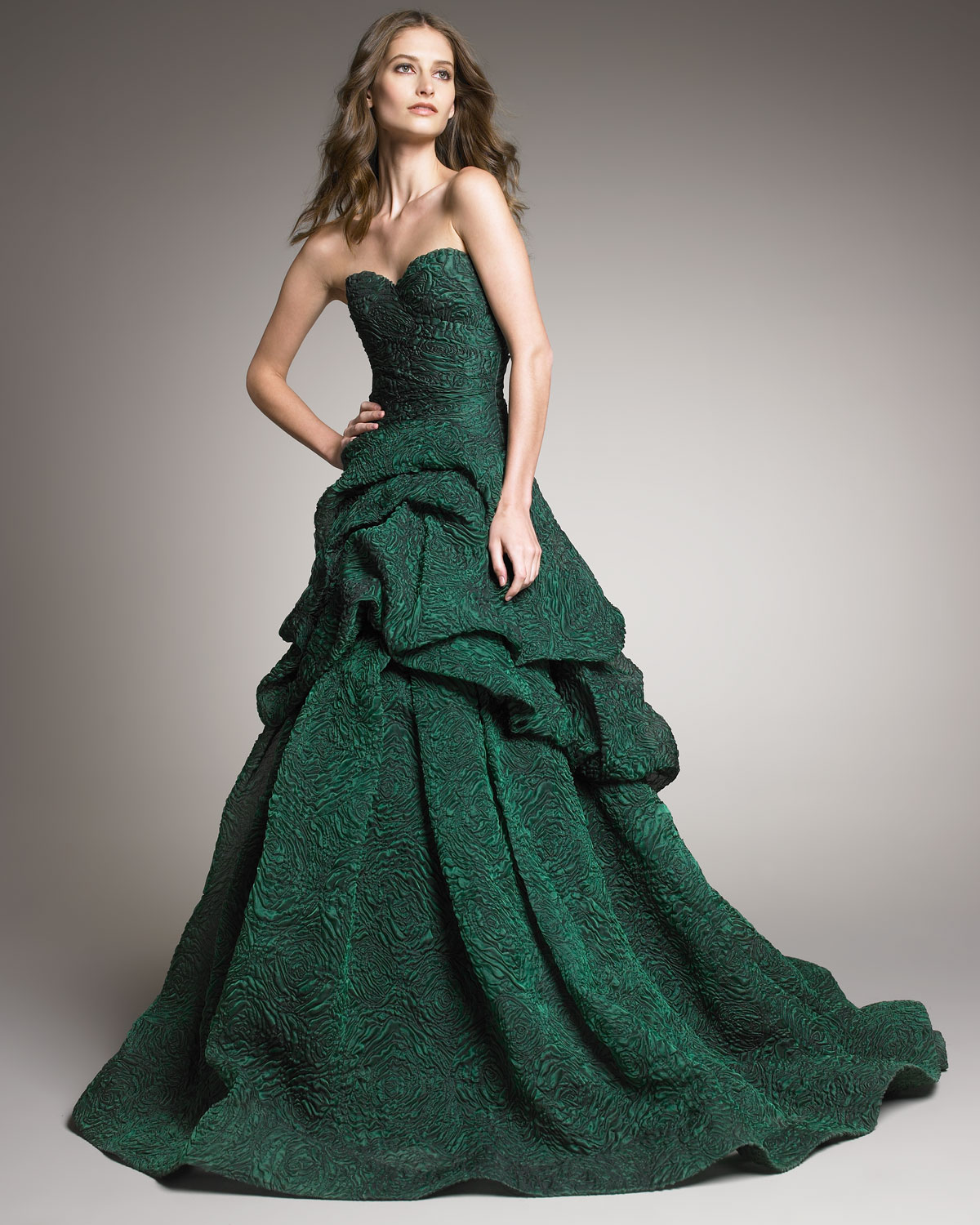 Lyst - Monique Lhuillier Tufted-skirt Strapless Gown in Green